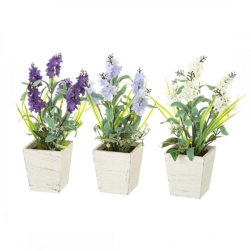Pack 3 plantas artificial lavanda en maceta madera - Flores de maceta ...
