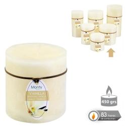 Caja 6 Vela cilíndrica perfumada crema 8 x 9 cm 450 grs- 83 horas combustión -2% perfume vainillla