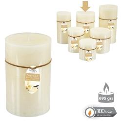Caja 6 Vela cilíndrica perfumada crema 8,7 x14 cm 695 grs- 100 horas combustión -2% perfume vainillla