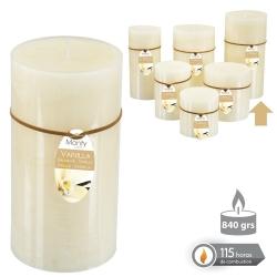 Caja 6 Vela cilíndrica perfumada crema 8,7 x17 cm 695 grs- 115 horas combustión -2% perfume vainillla