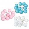 Pack 3 guirnalda Luz led 10 bolas algodon romantico colores , blanco , rosa , azul .