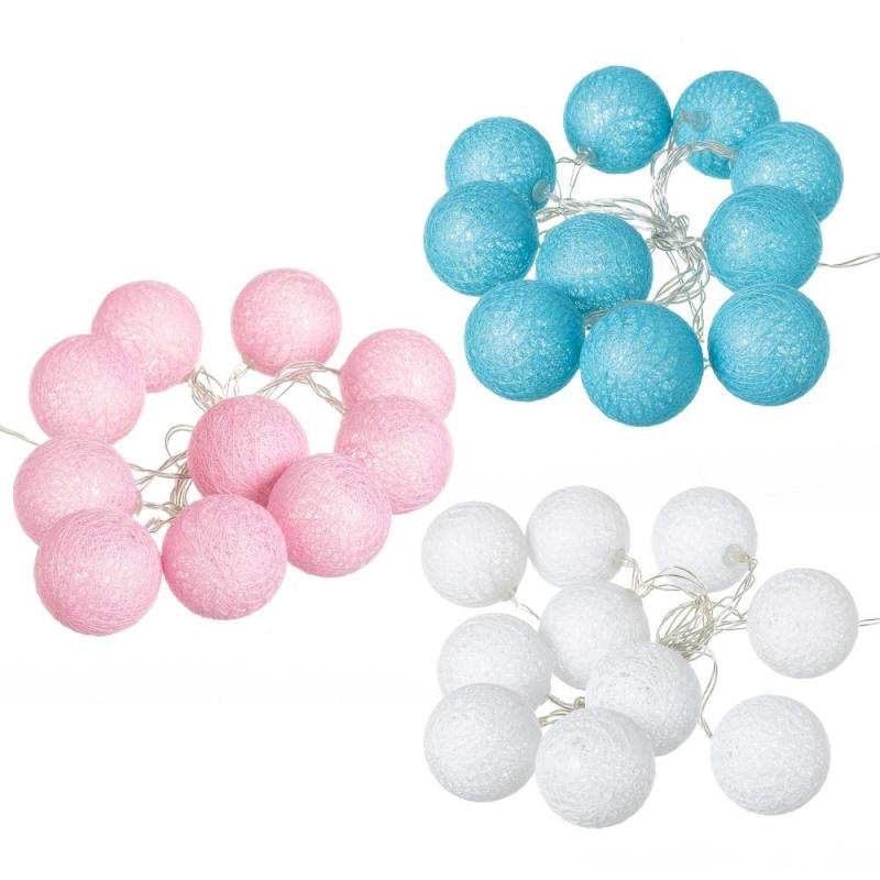 26afc2cc9ba Pack 3 guirnalda Luz led 10 bolas algodon romantico colores