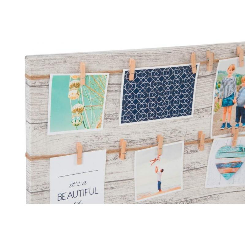 Marco multifoto de pared lienzo 20 pinzas 50x70 cm| dcasa.es