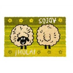 Felpudo oveja hola adios color verde 40x60 cm