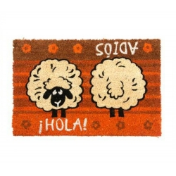 Felpudo oveja hola adios color naranja 40x60 cm