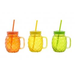 Jarra con pajita cristal piña colores ( juego de 3 jarras )
