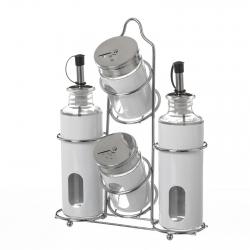 Aceitera vinagrera moderna blanca de cristal para cocina Basic