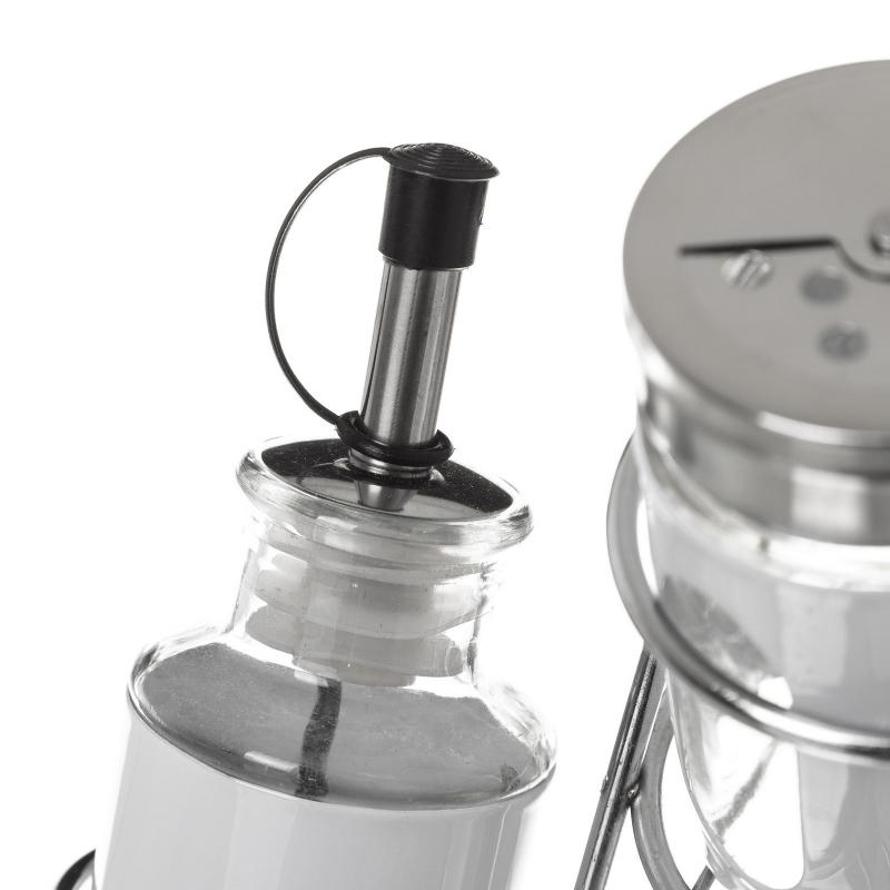 Aceitera vinagrera moderna blanca de cristal para cocina basic - Aceiteras de cristal ...