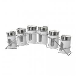 Especiero de 6 piezas moderno blanco de cristal para cocinaBasic
