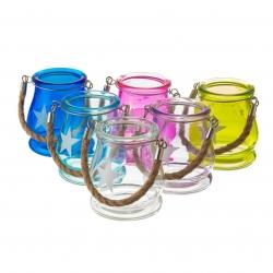 Faroles cristal portavelas 8,7x8,7x9,8 cm ( pack 6 farolillos )