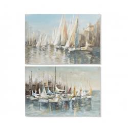 Set 2 cuadro pintado lienzo barcas 120x80 cm