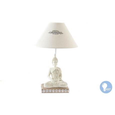 Lámpara de sobremesa oriental buda de madera .