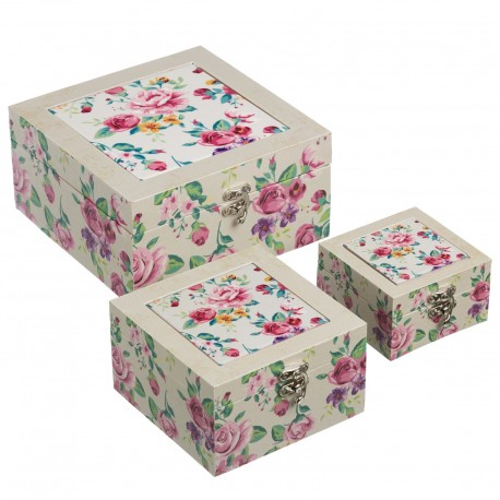 Juego de 3 caja decoradas tender cerámica/lienzo/mdf