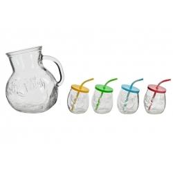 Jarra conjunto 4 vaso con pajita cristal .