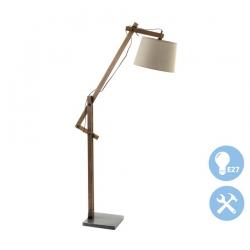 Lámpara de pie nórdica madera tela para salón .