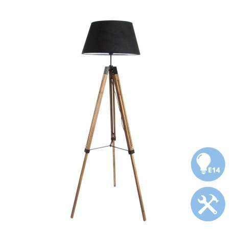 Lámpara de pie factory negro madera para salón .