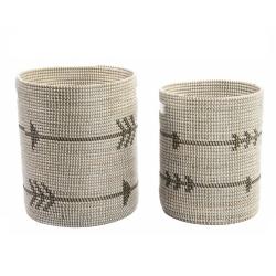 Set 2 cesta fibra tribal 40x49 cm