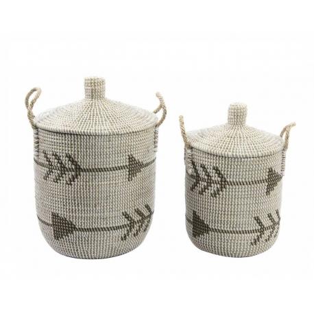 Set 2 cesta fibra tribal con tapa 37x41 cm
