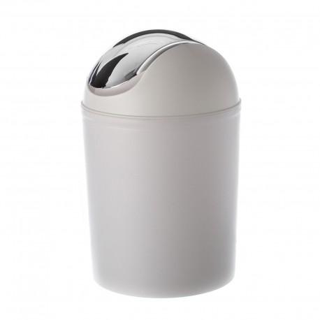 Mini Papelera blanco-plata polipropileno 20 cm