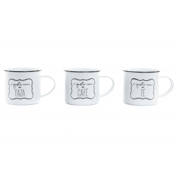 Set 3 mug metal vintage retro frases a gusto