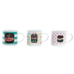 Set 3 mug metal vintage retro frases ingles