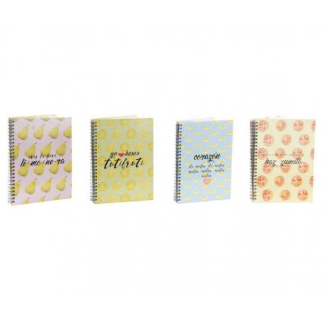 Pack 4 librera de recetas frutas con frase .