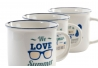 Set 3 mug porcelana vintage summer frases ingles