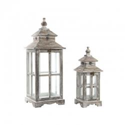 Set de 2 faroles portavelas rústicos grises de madera para decoración