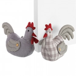 Tope de puerta decorativo gallina 2/c tela / arena 32 x 27 cm peso aproximado de 1 kg.