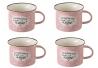 Taza de café pop rosa de cerámica para cocina Iris (Set de 4 tazas)