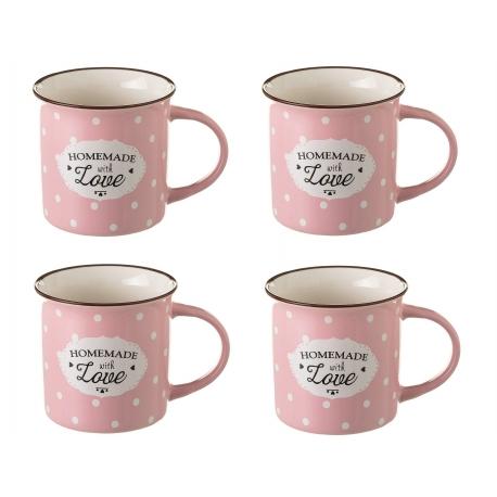 Taza de t pop rosa de cer mica para cocina iris set de 4 - Tazas de te originales ...