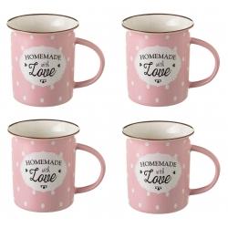 Taza mug pop rosa de cerámica para cocina Iris (Set de 4 tazas)