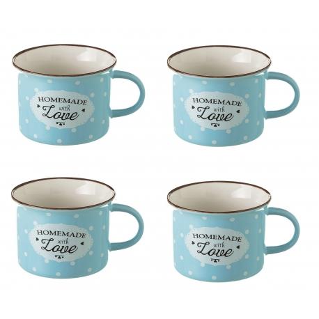 Taza de café pop azul de cerámica para cocina Iris (Set de 4 tazas)