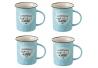 Taza mug pop azul de cerámica para cocina Iris (Set de 4 tazas)