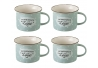 Taza de café pop gris de cerámica para cocina Iris (Set de 4 tazas)