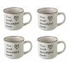 Taza de café romántica blanca de cerámica para cocina Fantasy (Set de 4 tazas)