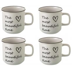 Taza mug romántica blanca de cerámica para cocina Fantasy (Set de 4 tazas)