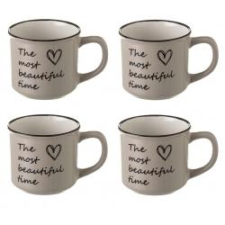 Taza de café romántica beige de cerámica para cocina France (Set de 4 tazas)