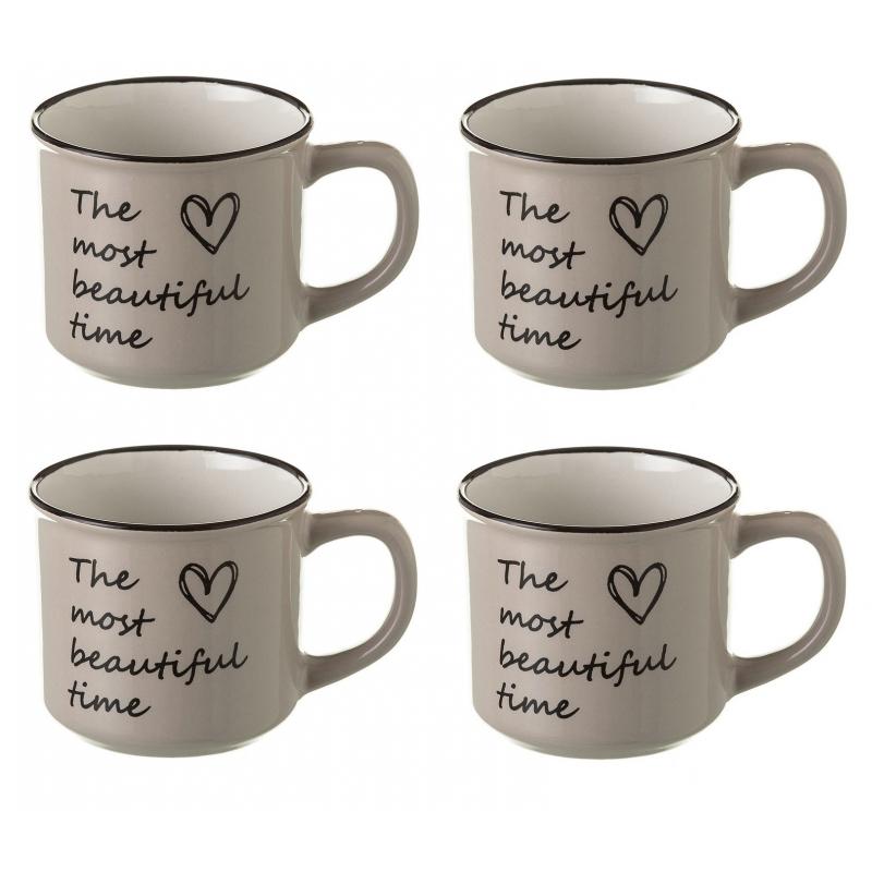 Taza de caf rom ntica beige de cer mica set de 4 tazas for Tazas de cafe originales