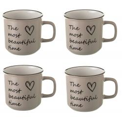 Taza mug romántica beige de cerámica para cocina France (Set de 4 tazas)