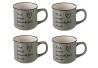 Taza de café romántica gris de cerámica para cocina Bretaña (Set de 4 tazas)