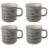 Taza mug romántica gris de cerámica para cocina Bretaña (Set de 4 tazas)