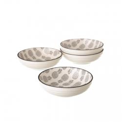 Pack 4 plato piña gris mini porcelana .