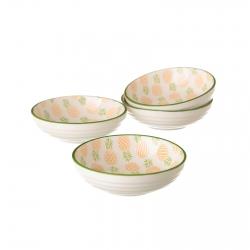 Pack 4 plato piña verde mini porcelana .