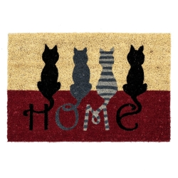 Felpudo muy original de fibra de coco y base de goma diseño gatos HOME 60 x 40 cm