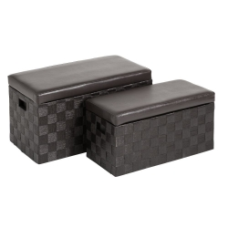 Puffs baúl modernos marron de madera para dormitorio