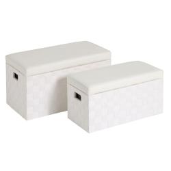 Puffs baúl modernos blanco de madera para dormitorio fantasy