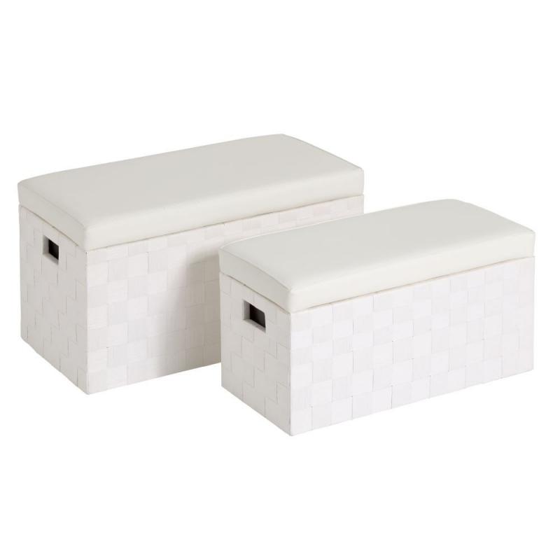 Puffs ba l modernos blanco de madera para dormitorio - Baul asiento dormitorio ...