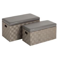 Puffs baúl modernos gris de madera para dormitorio fantasy