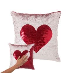 Cojín lentejuelas reversibles corazon blanco rojo 40x40